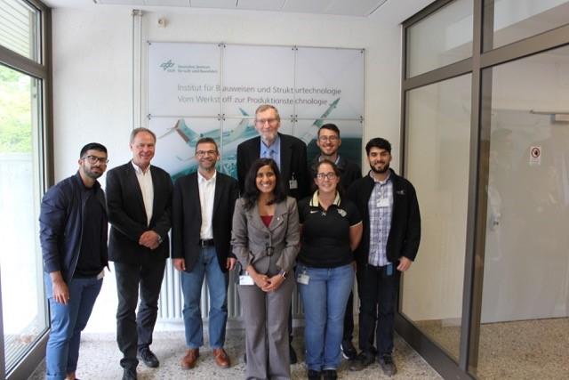 IRES Germany 2016 at DLR Stuttgart Pictured from left to right: Jose Cotelo, Dr. Hald, Dr. Koch, Dr. Raghavan, Dr. Gol, Brooke Sarley, Zachary Crain, and Wilson Perez