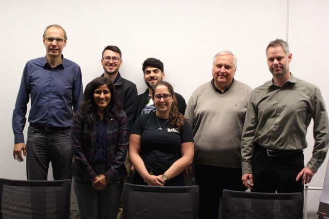 IRES Germany 2016 at Julich Pictured from left to right: Dr. Vaßen, Dr. Raghavan, Zachary Crain, Wilson Perez, Brooke Sarley, Dr. Mauer, and Dr. Mack