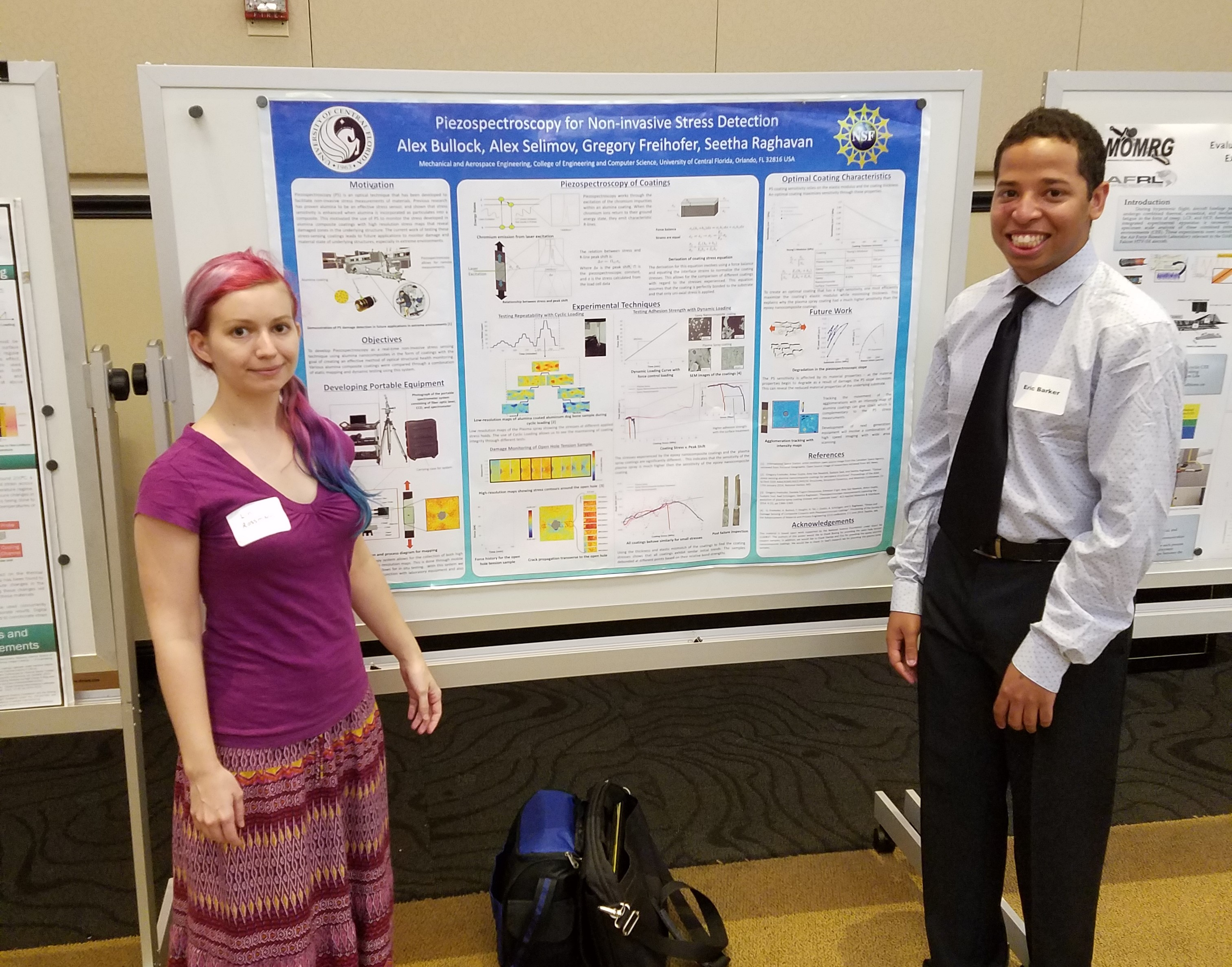 "Linda Rossman and Eric Barker presenting poster on ""Piezospectroscopy for Non-Invasive Stress Detection"""
