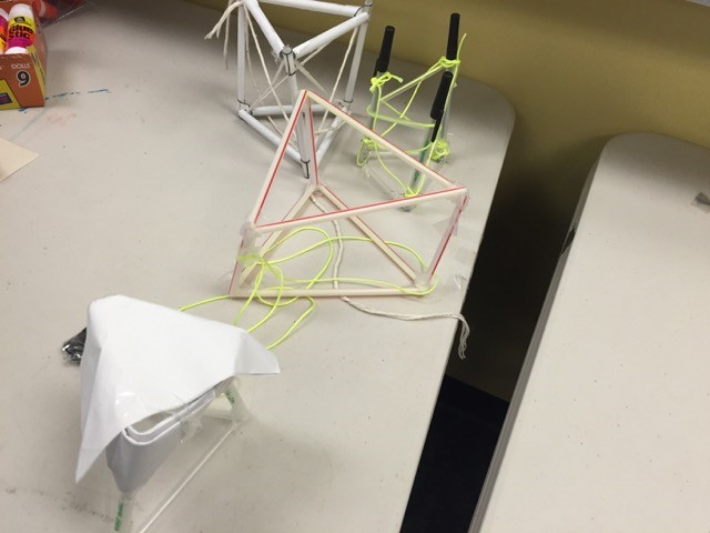 Examples of students' model solar sail masts
